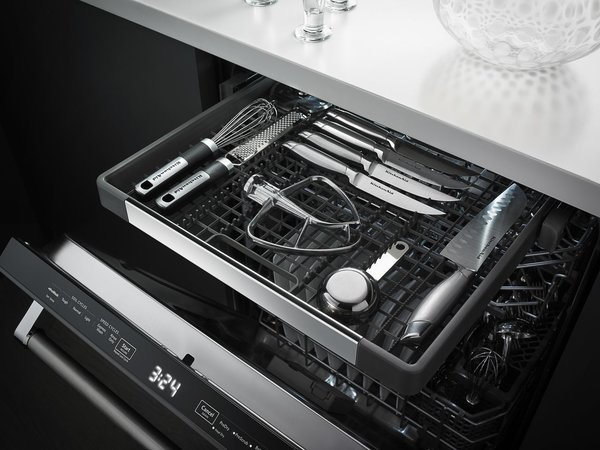 7 Kitchen Technologies to Watch - Photo 4 of 7 - In addition to the standard two levels of storage, the dishwasher has a third rack for odd-shaped items like cooking tools.