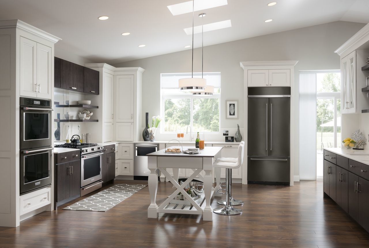 KitchenAid's refrigerator, oven, and dishwasher are all available in black stainless steel. The black stainless appliances complement traditional stainless pieces, and the two can be mixed and matched in a kitchen.