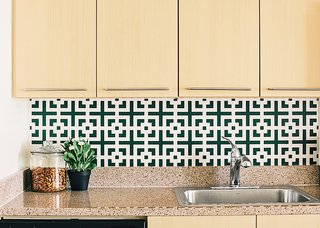 New Kitchen Materials You Should Know About - Photo 7 of 7 - Another increasingly popular option is kitchens that are not static, but can be changed over time. Self-adhesive coverings, like the Squares Squared wallpaper by Chasing Paper ($30 per four-by-two-foot panel), can be swapped out seasonally.