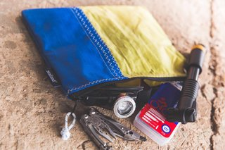 Salvaged Outdoor Gear Gets New Life, Thanks to a Surfer-Designer Duo - Photo 1 of 8 - Designer Jasper Eales and big wave surfer and businessman Mike Schlebach have teamed up to create a new brand, Sealand, that produces products made of hemp, organic cotton, and upcycled waste-materials, including old stretch tents, sail cloth, and advertising billboard mesh.