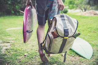 "Salvaged Outdoor Gear Gets New Life, Thanks to a Surfer-Designer Duo - Photo 4 of 8 - ""We believe in functionality and quality that stands the test of time,"" says Eales. ""All of our upcycled products are guaranteed to be 100 percent unique, and have a lifetime warrantee. In return, this will reduce the amount of waste in landfills. We are proud to have our roots in Cape Town, South Africa."""