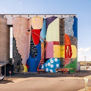 "Instagram We Love: The Visual Diary of Brooklyn Studio Souda - Photo 1 of 11 - ""Atlanta-based public artist, Alex Brewer (a.k.a. Hense), utilizes grain silos in Northam Western Australia for his newest installation."""