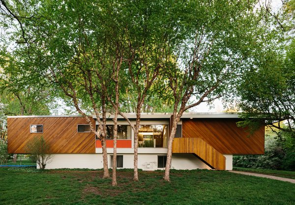 """The 1,800-square-foot home features a cantilevered design and diagonal cladding similar to that of Breuer's own 1947 Connecticut residence. Hufft replaced the roof but maintained its flat profile—though finding the correct two-inch metal flashing was a challenge. """"These are the details that make the original what I consider a masterpiece,"""" Hufft says."""