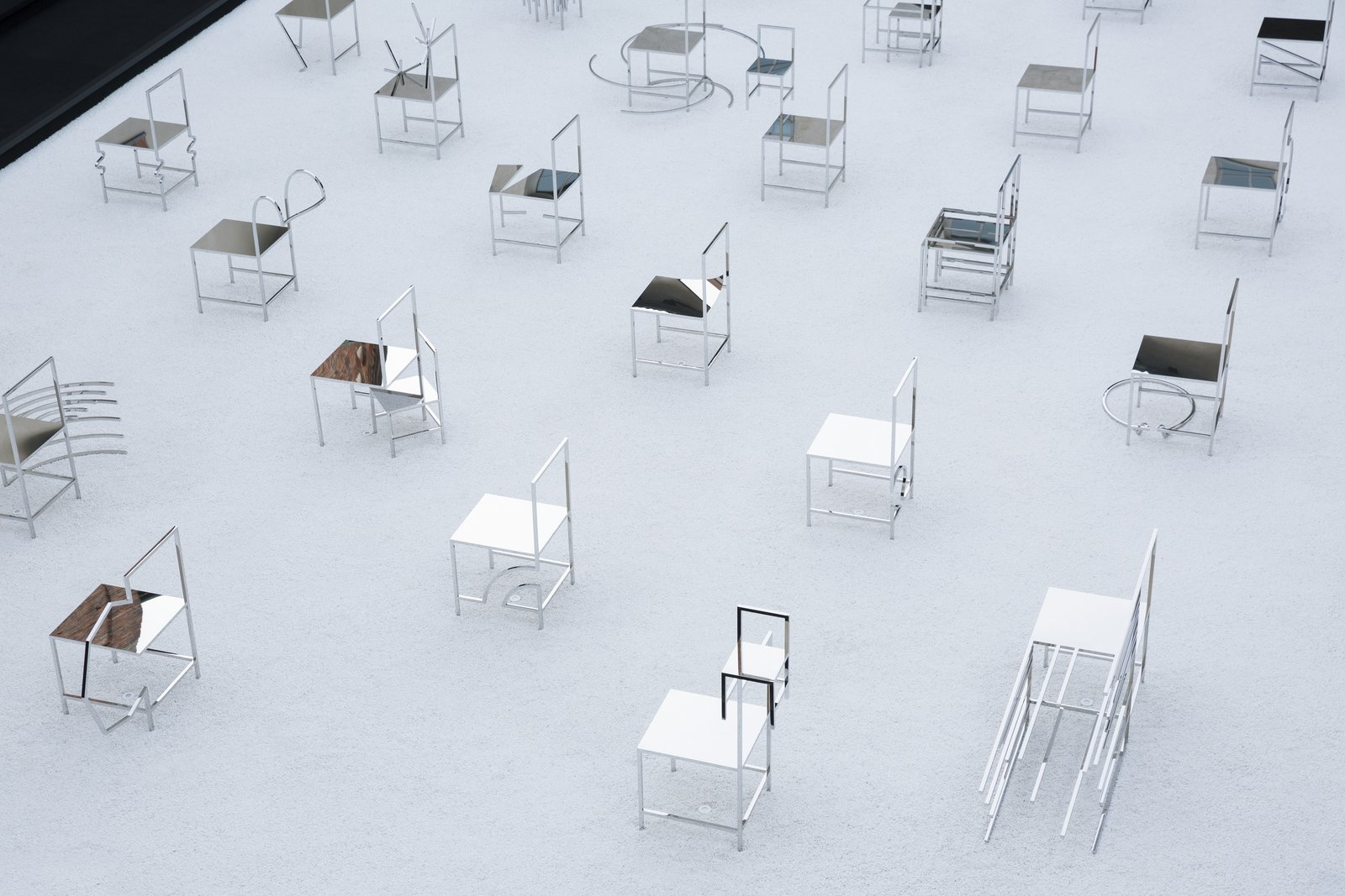 The installation consists of 50 stainless steal chairs.