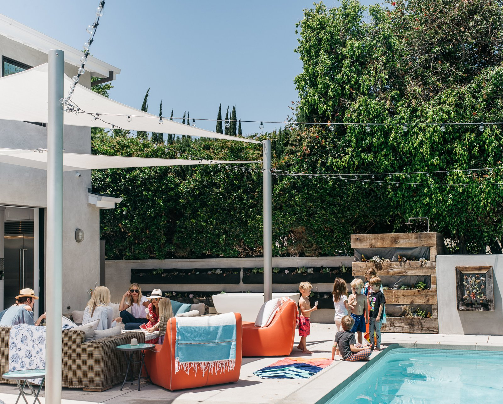 """Having a family house, with everyone together, was always Lena's goal,"" says Broden. Tagged: Outdoor, Large Pools, Tubs, Shower, Swimming Pools, Tubs, Shower, Large Patio, Porch, Deck, and Concrete Patio, Porch, Deck.  Photo 9 of 15 in Lena Headey's Off-Camera Castle"