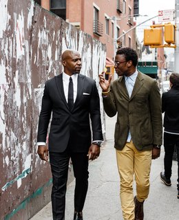 Designer Ini Archibong Finds A Patron in Actor Terry Crews - Photo 1 of 4 - Actor Terry Crews, left, and designer Ini Archibong have a longstanding friendship based on shared ideals. In April 2016 they worked together to debut In The Secret Garden, a collection of furnishings conceived by Archibong, at the Milan furniture fair, a respected launching ground for burgeoning design industry players.