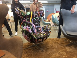 A Recent Trip Leaves Us Dwelling on Denmark - Photo 4 of 14 - The Hawai fabric by Josef Frank for Svenskt Tenn covers an Egg chair by Arne Jacobsen.