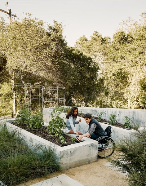 On approach to the guesthouse, the family keeps an edible garden in concrete planters by the property's landscape designer, Cielo Sichi of Landfour.