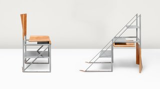 What if Furniture Worked Like a Swiss Army Knife? - Photo 2 of 3 - By turning the Stepladder Chair upside down and unfastening a pair of aged leather straps, users get three solid steel steps for reaching high shelves.