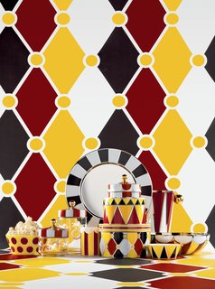 Alessi and Marcel Wanders Let The Circus Run Wild In Their Latest Collaboration - Photo 1 of 9 - The core pieces are made from  stainless steal and finished with geometric patterns. Combinations of red, yellow, black, red, gold, white, and silver alternate on the objects across the collection.