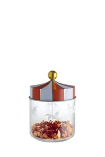 The silk-screened glass jars are inspired by a merry-go-round.