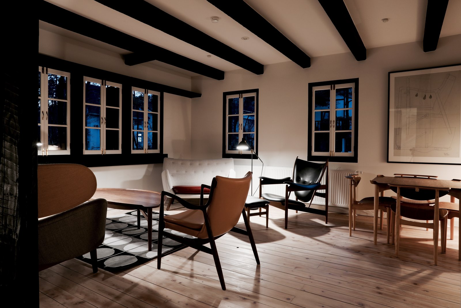 Tagged: Living Room, Chair, and Coffee Tables.  Photo 1 of 5 in Finn Juhl Design Hotel Opens in Nagano, Japan