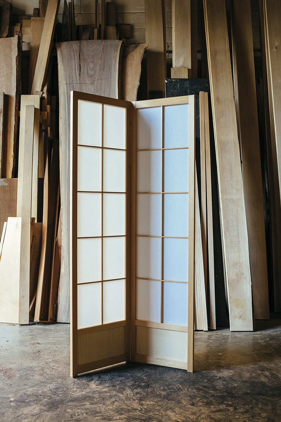 The Hanafusas' specialty is the double-sided shoji, which has a removable second frame that sandwiches the paper. The style has the added benefit of being sturdier than classic single-sided shojis. Undivided Attention - Photo 7 of 7