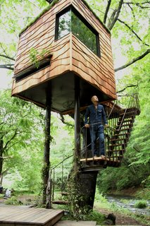 "10 Surreal Tree Houses That Will Make Your Childhood Dreams Come True - Photo 4 of 10 - Japanese architect Takashi Kobayashi of the Tree House People has been declared a ""tree house master"" by Design Made in Japan. Seamlessly integrating nature and design, this tiny tree house is certainly not just for children."