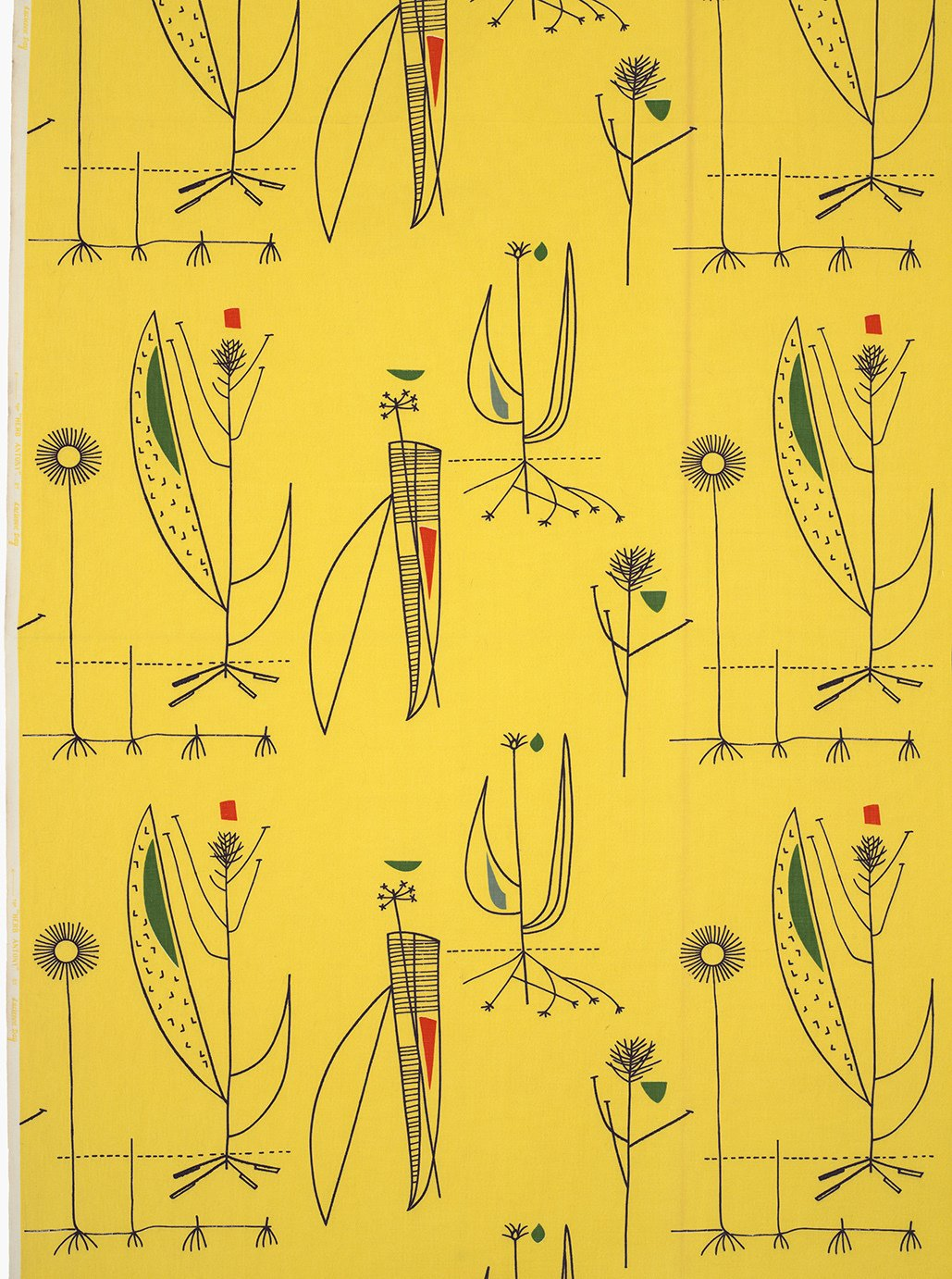 Day's Herb Antony fabric for Heal's (1956) is an example of her bright, optimistic prints that were an antidote to the austerity of World War II and were widely embraced as a fresh alternative to traditional floral fabrics. Image courtesy of The Robin & Lucienne Day Foundation. Collection of Jill A. Wiltse and H. Kirk Brown III, Denver.