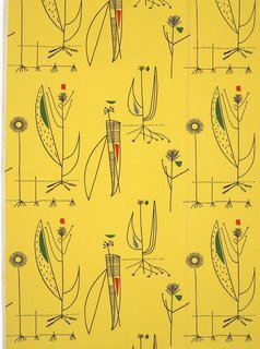 All in a Day's Work - Photo 3 of 4 - Day's Herb Antony fabric for Heal's (1956) is an example of her bright, optimistic prints that were an antidote to the austerity of World War II and were widely embraced as a fresh alternative to traditional floral fabrics. Image courtesy of The Robin & Lucienne Day Foundation. Collection of Jill A. Wiltse and H. Kirk Brown III, Denver.
