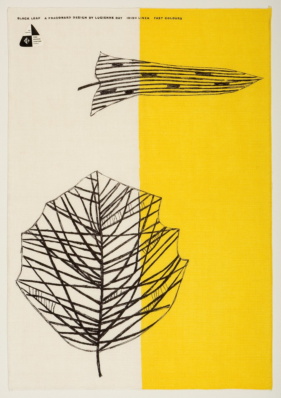 .Lucienne Day's Black Leaf tea towel for Thomas Somerset (1959) exemplifies her fascination with modern art and plant life. Image courtesy of The Robin & Lucienne Day Foundation. Collection of Jill A. Wiltse and H. Kirk Brown III, Denver.