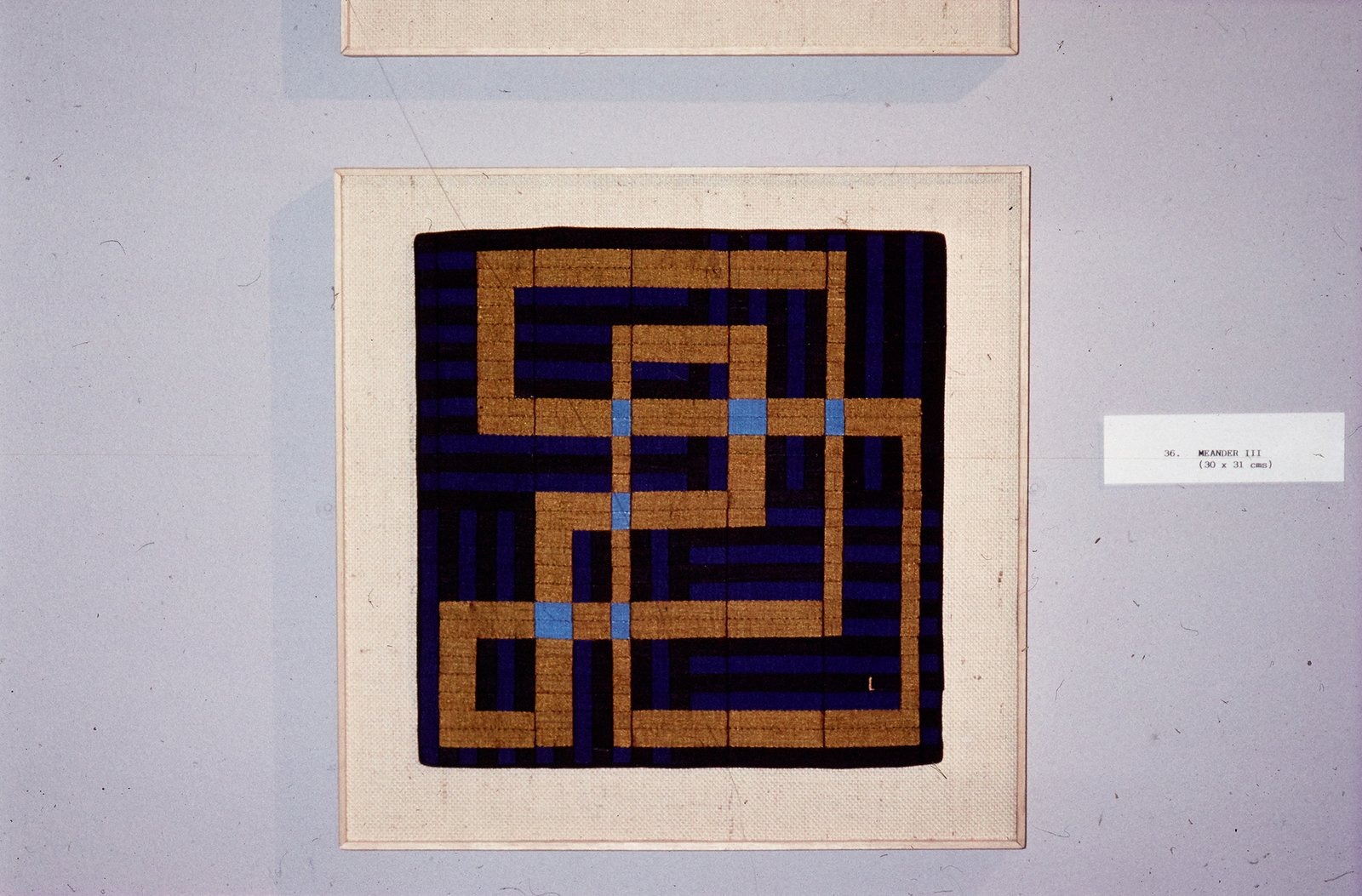 """In the 1970s, searching for another outlet for her creativity, Lucienne began to produce one-of-a-kind silk mosaics, like """"Meander 3"""" (1990). Image courtesy The Robin & Lucienne Day Foundation."""