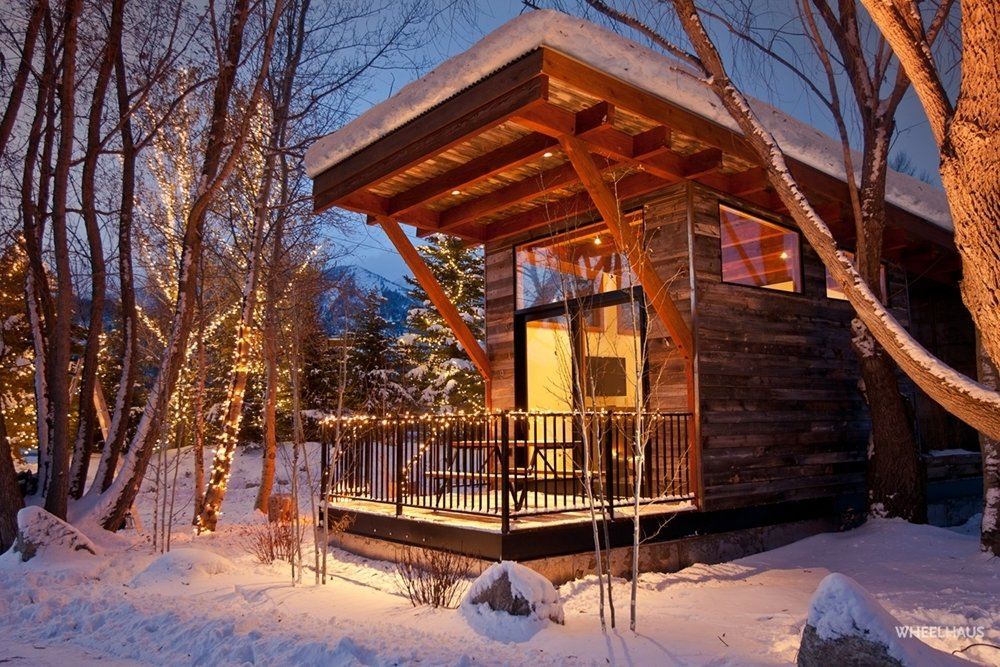 Project Name: The Wedge Park Model RV Tagged: Exterior, Wood Siding Material, and Prefab Building Type.  Photo 4 of 21 in 20 Modern Prefab Companies Perfect for Mountain Living