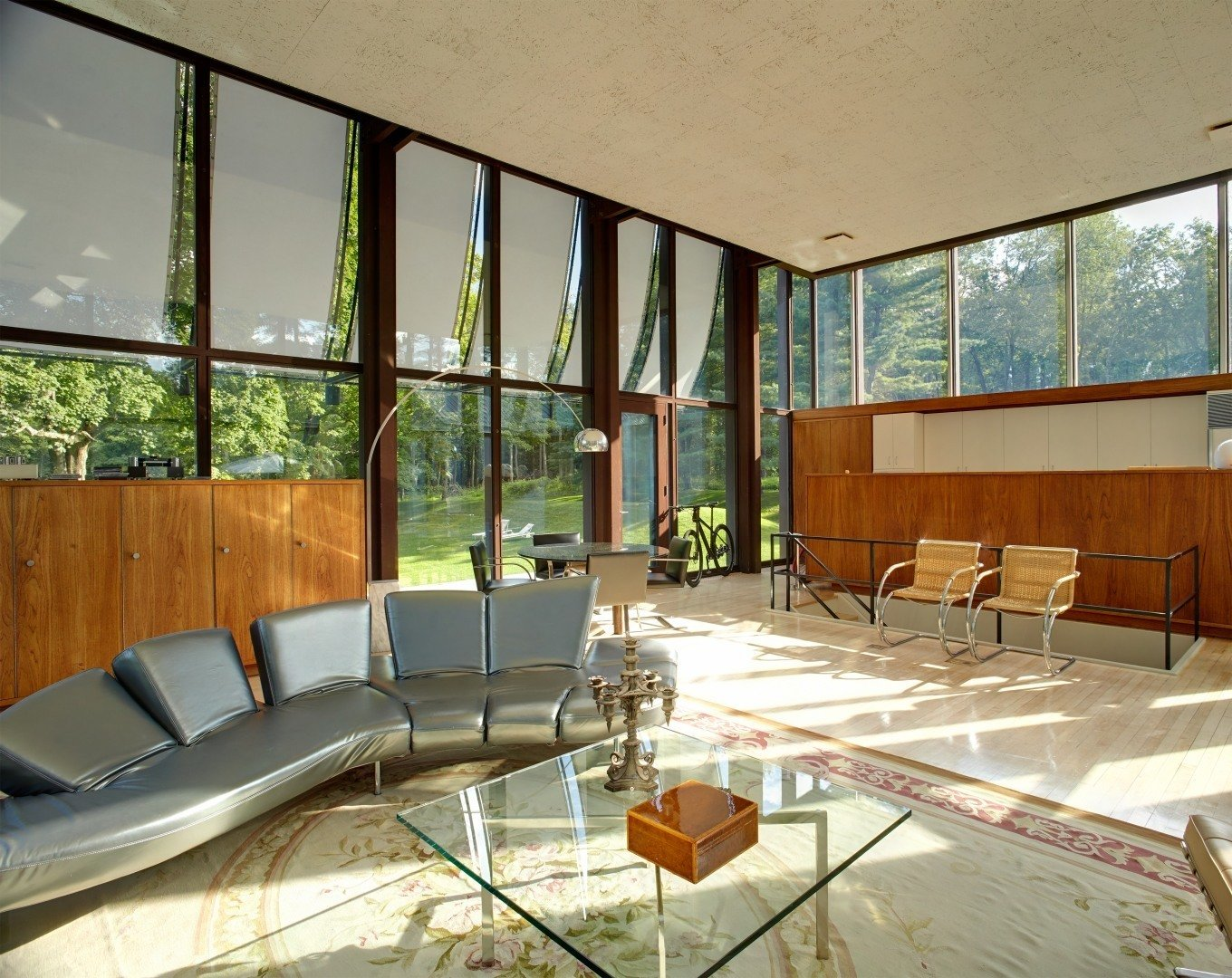Since the large windows had gone through some harsh wear and tear over the years, Ferris decided to replace the old window panels with new double-paned windows while following Johnson's original drawings. Ferris personally knew Johnson and made sure to stick to his vision when restoring the house.   Wiley House by Dwell