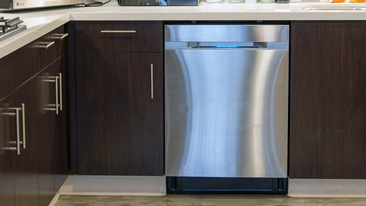 Samsung's WaterWall technology creates a wall of water that glides over dishes, but users can also customize wash settings based on different zones of the dishwasher to target specific items. The stainless-steel door features an LED display, and it remains in the realm of quieter models at 44 decibels.