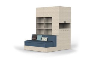 Certain units have built-ins, like a sofa, desk, or bed.