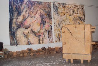 Two of Fitzpatrick's paintings are shown here, alongside a sculpture by David Nash titled, Cracking Box.