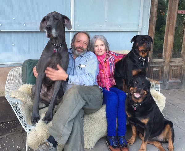 Shively and Fitzpatrick are shown here with their three dogs that inhabit their property in West Marin, California.