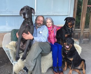 Creatives of the Bay Area Series: Evan Shively and Madeleine Fitzpatrick - Photo 2 of 10 - Shively and Fitzpatrick are shown here with their three dogs that inhabit their property in West Marin, California.