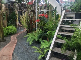 This pathway in the greenhouse guides you to one of the separate wings of the house. The stairs are repurposed from a winery installation that they use to water plants that reach upwards of 20 feet. It also acts as a place to perch within the greenhouse.