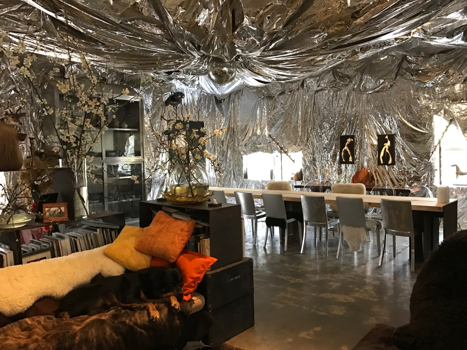 After seeing a mylar installation by a friend of theirs, they decided to drape their dining room with the bold material. Creatives of the Bay Area Series: Evan Shively and Madeleine Fitzpatrick - Photo 7 of 10