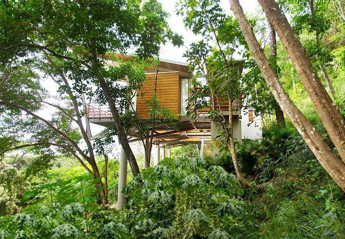 Both chic and eco-friendly—the interconnecting teak and bamboo pod-like design floats above the trees with sweeping 180 degree views of the mountains and the Pacific.  Photo 7 of 10 in Find Yourself in Paradise at These 10 Modern Rentals in the Caribbean