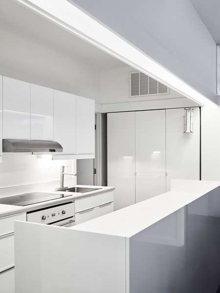 Tagged: Kitchen, Cooktops, Range, Range Hood, White Cabinet, and Drop In Sink.  Photo 10 of 11 in Across the Ocean
