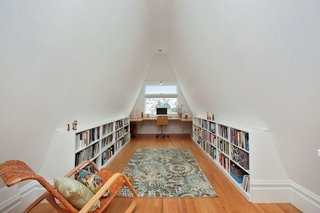 This 1900s attic was converted into a reading room and workspace.