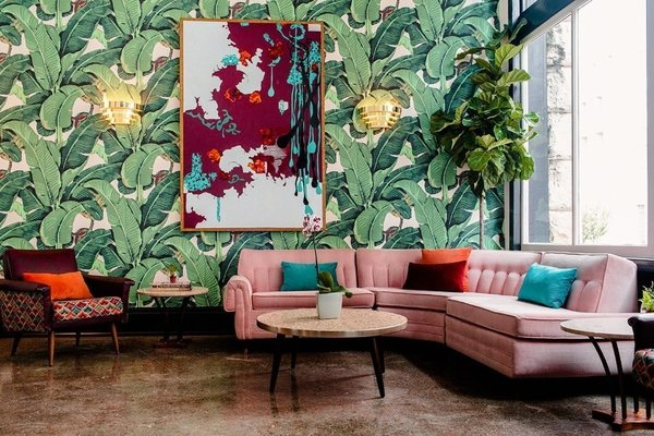 This hotel—which happens to bare the same name as us, but has no affiliation with Dwell—takes you back to the late-1950s with modern and bohemian elements and rooms that feature different design concepts.