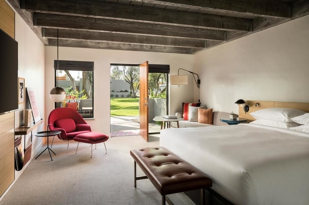 The casita-inspired bungalows of Andaz Scottsdale Resort & Spa are inspired by the aesthetics of American mid-century designer Alexander Girard.