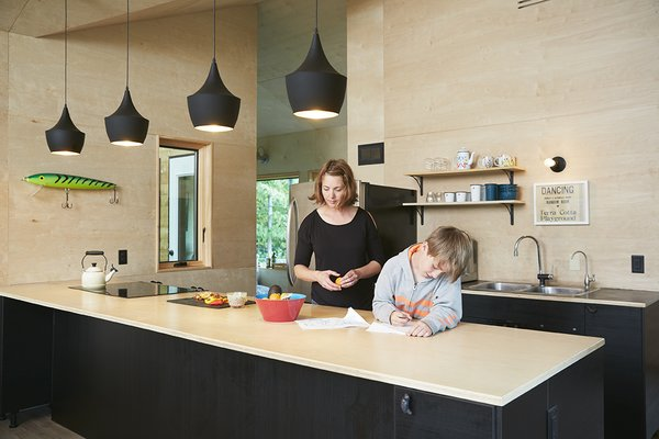 In the kitchen both the walls and the countertop are made of birch plywood. A quartet of black Tom Dixon Beat lights hangs overhead.