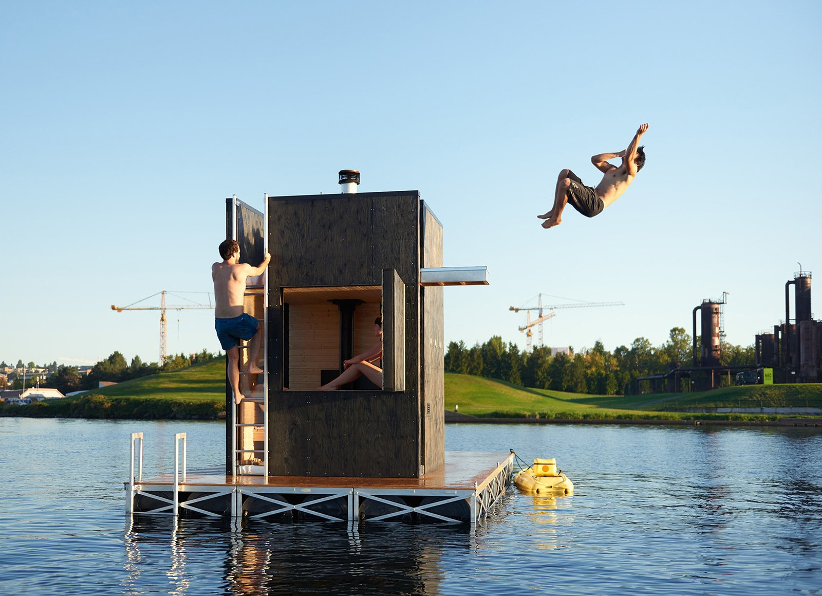 Bathers can easily exit the structure and dive into the cool water via the door or the side hatch. Tagged: Shed & Studio.  Photo 2 of 11 in Escape to One of These 10 Otherworldly Outdoor Saunas