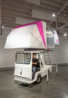 The AERO-Mobile is a movable, flexible exhibition and retail space made of recycled parts discarded by the aerospace industry. This impermanent architecture envisions buildings as a series of ULD's (Unit Load Devices), up-cycled as exhibition space platforms and mounted on electric trucks—allowing for spontaneous pop-up experiences to be deployed throughout cities.