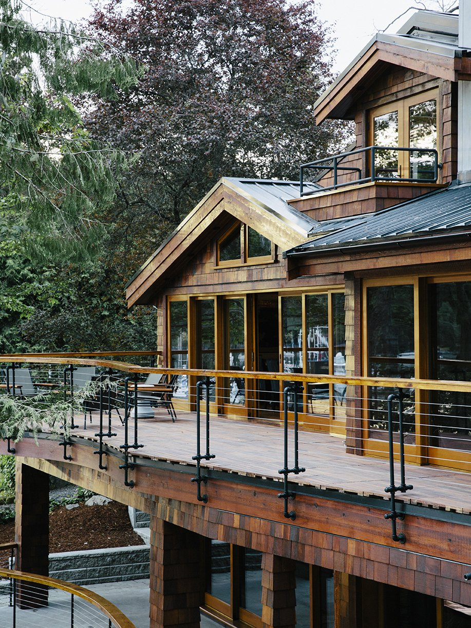 Conrad used sprinkler pipe material for the railings on the deck, which is made of ipe from West Wind Hardwood.