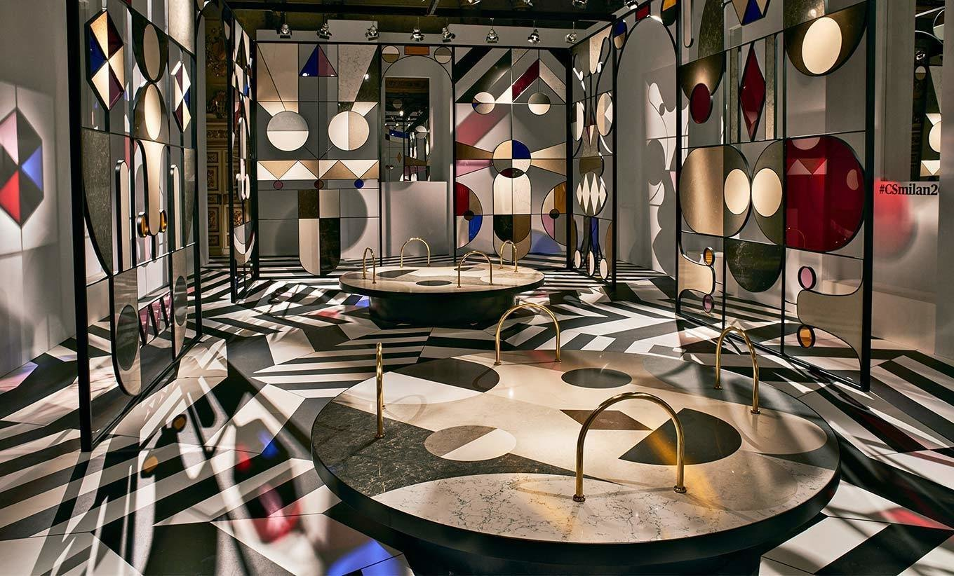 """Spanish artist/designer Jaime Hayon devised the collages of quartz seen at the eye-popping Caesarstone pavilion at Palazzo Serbelloni, entitled """"Stone Age Folk.""""  Photo 11 of 11 in The Best Things We Saw at Milan Design Week 2017"""