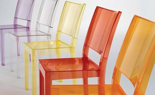 The La Marie Chair was designed by Philippe Starck in 2002 for Kartell and is made out of a polycarbonate mold.