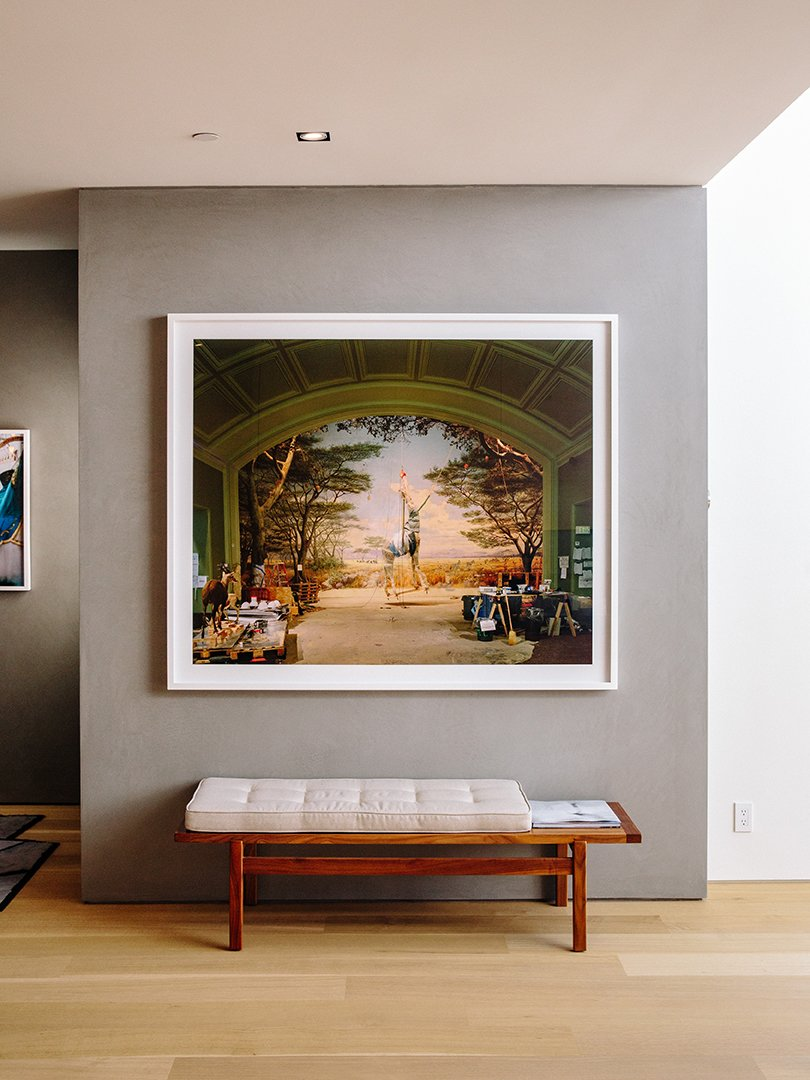 The Richard Barnes photo pops against a gray Venetian plaster wall.  Photo 12 of 15 in Domino Effect: How a Bedroom Refresh Jump-Started a Whole-House Remodel For a Tech Exec