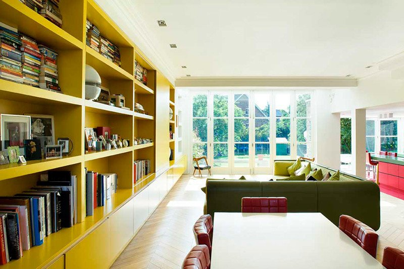 Tagged: Table, Chair, Ceiling Lighting, and Living Room.  Photo 3 of 13 in Bright Bauhaus Colors Fill This Brick Edwardian House in London
