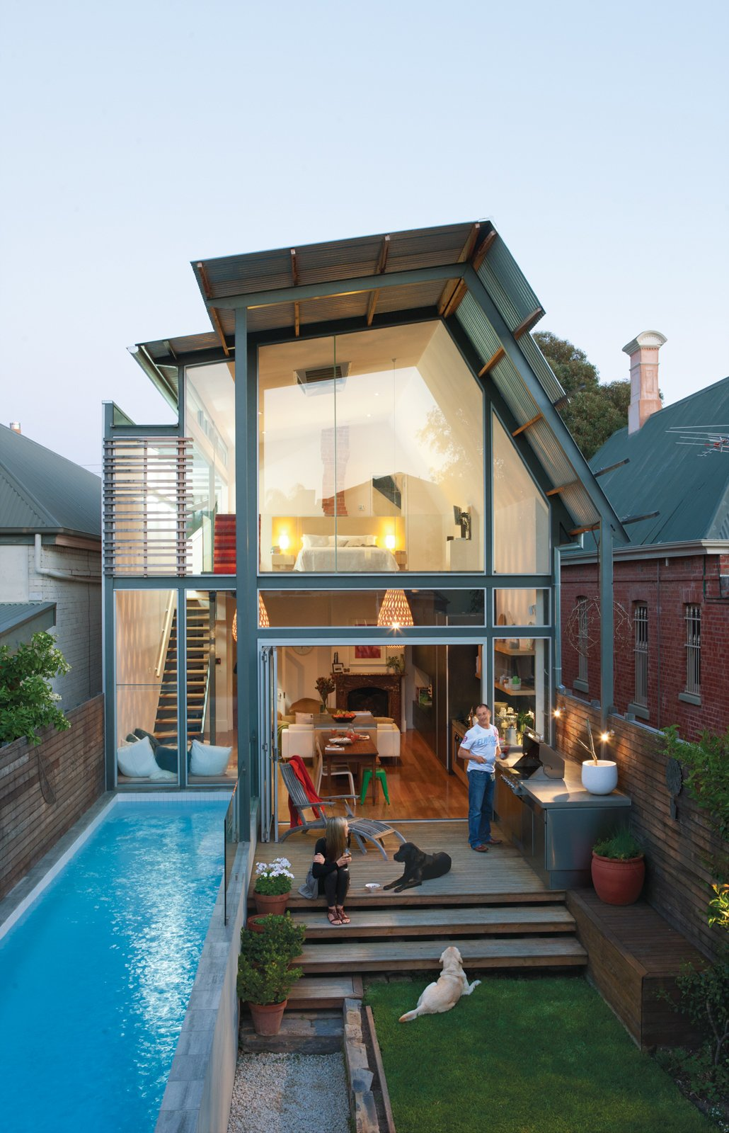 Tagged: Outdoor, Wood Patio, Porch, Deck, Plunge Pools, Tubs, Shower, Small Patio, Porch, Deck, Grass, Back Yard, and Walkways.  Photo 1 of 9 in This Luminous Australian Renovation Packs a Lot Into a 23-Foot-Wide Lot