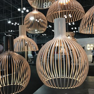 The Best of New York Design Week 2017 - Photo 12 of 35 - We were happy to see the US reintroduction of Secto Design's line of handcrafted Finnish lighting pieces made of Scandinavian birch. As of this week, the pieces will be stocked and distributed throughout the US via a Wisconsin warehouse. The entire collection is designed by Finnish architect Seppo Koho.