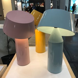 The Best of New York Design Week 2017 - Photo 13 of 35 - Bicoca is a USB-chargeable polycarbonate lamp designed by Christophe Mathieu for Spanish lighting company Marset. Each piece is lightweight, with a dimmable LED light source and a tilting shade. It comes in six colors.