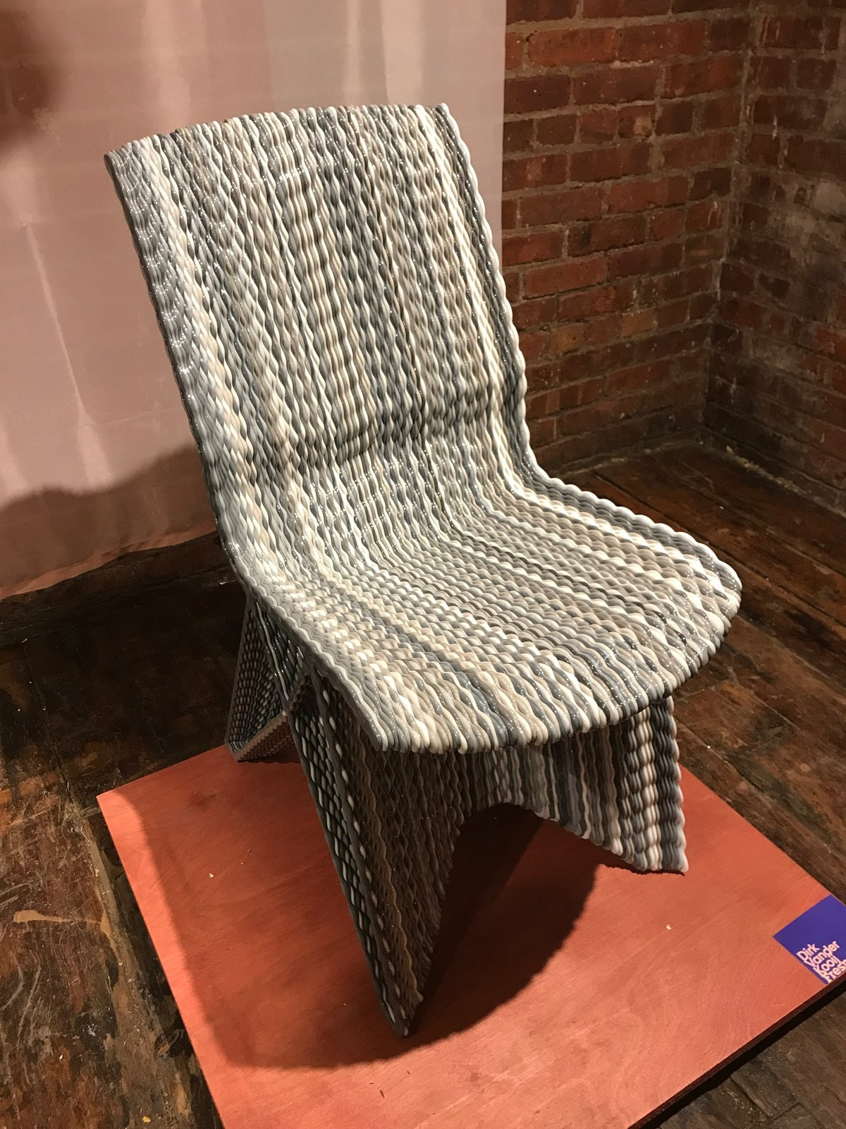 At Wanted, Dutch designer Dirk Van Der Kooij displayed his new 3D-printed chair made of recycled refrigerator plastic parts. The Best of New York Design Week 2017 - Photo 25 of 36