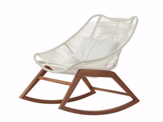 15 Modern Outdoor Seating Pieces To Take You Into Summer - Photo 2 of 5 - Designed by Antoine Fritsch and Vivien Durisotti for Roche Bobois, this sculptural armchair features a mahogany frame and a seat constructed with two intersecting nautical cord braids.