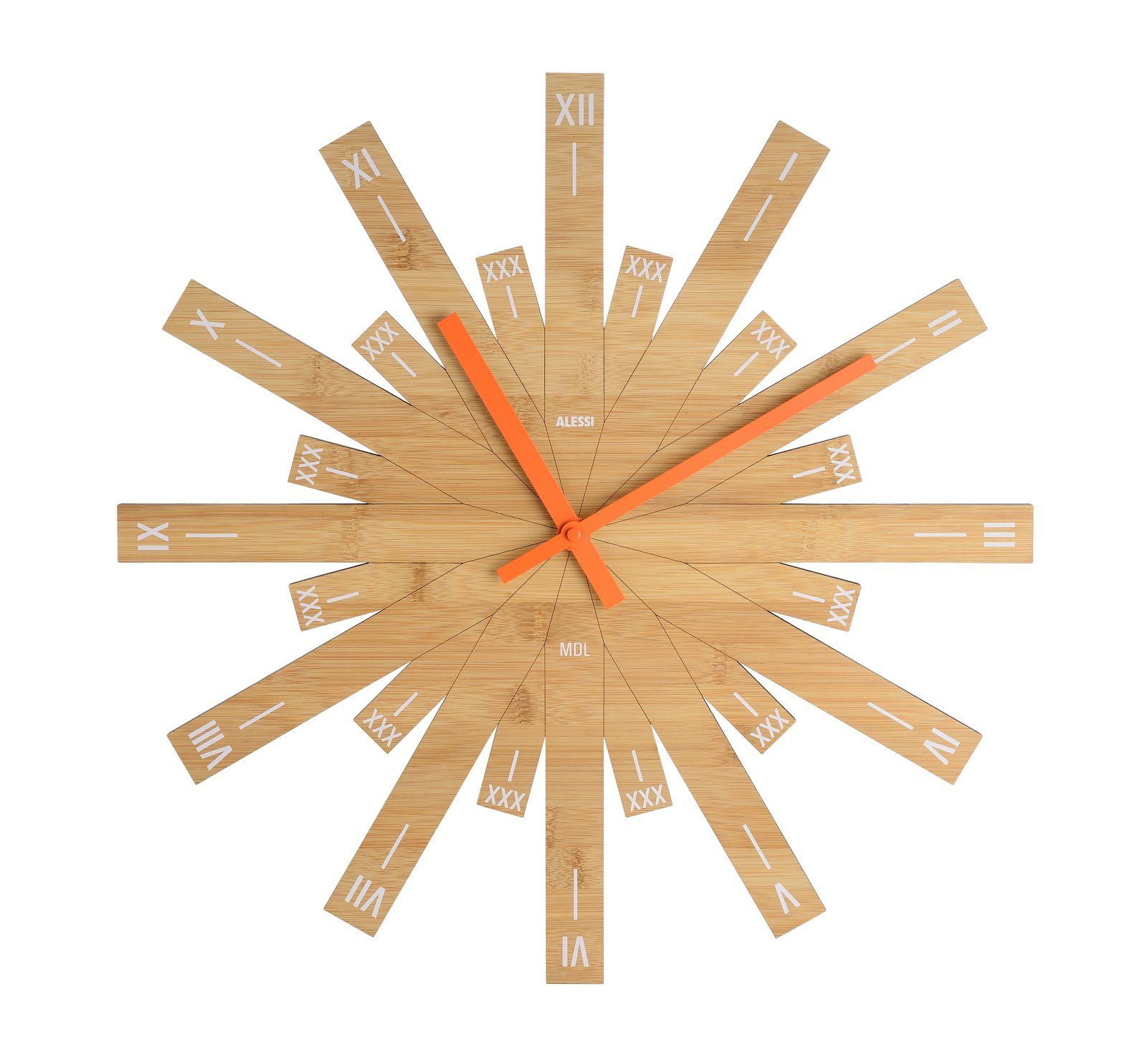 Raggiante, 2017.  A recent creation  for Italian manufacturer Alessi, this bamboo clock features Roman numerals and a distinctive form with a diameter of nearly  20 inches. alessi.com